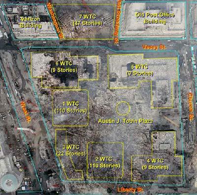 Zerstörungen am Ground Zero