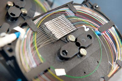 Verbindungsstelle eines Glasfaserkabels