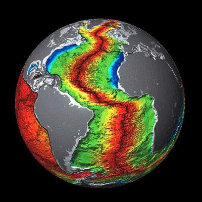 Alter des Meeresbodens entlang des Mittelatlantischen Rückens