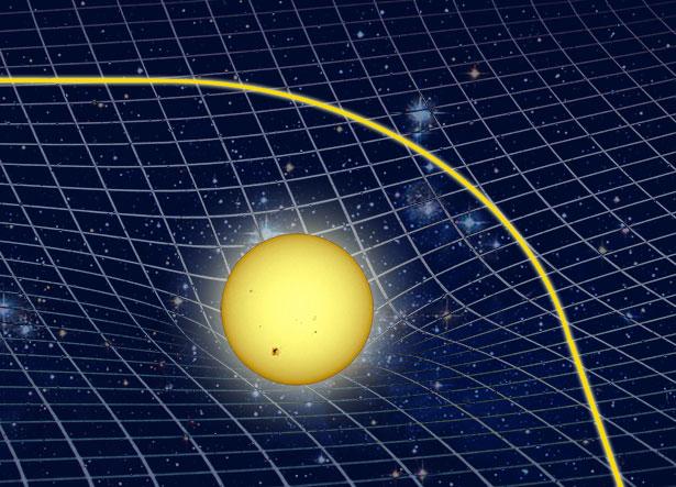 Die Krümmung der Raumzeit lenkt das Licht ab - große Massen krümmen das Licht auf sich zu.