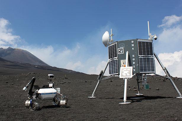 Lvalandschaft als Testfeld: Rover und Lander der ROBEX-Mission in Aktion
