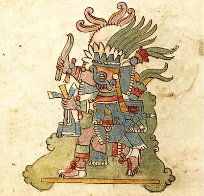 Tlaloc, der spätere Regengott der Azteken – sein Bild ziert auch die Wände von Teotihuacan .