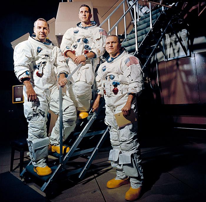 """<span class=""""img-caption""""> Ursprünglich für Apollo 9 vorgesehen, dann aber doch auf Apollo 8 vorgezogen: James Lovell, William Anders und Frank Borman.</span> <span class=""""img-copyright"""">© NASA</span>"""