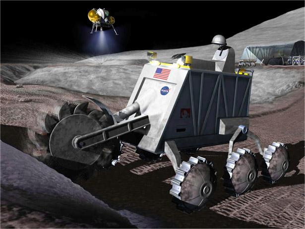 Künstlerische Darstellung von Bergbau-Robotern bei der Arbeit