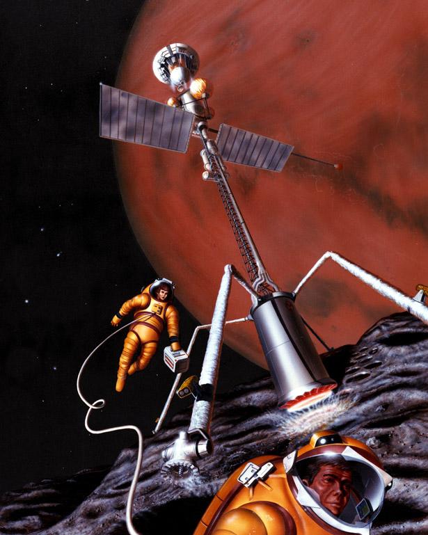 Zukunftsvision von Treibstoff-Gewinnung auf dem asteroiden-ähnlichen Marsmond Phobos