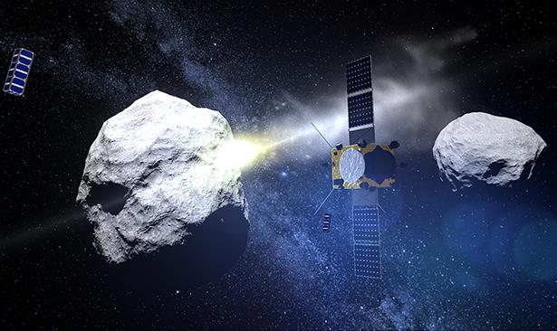 Die AIDA-Mission: Eine Sonde lenkt den Asteroidenmond durch Einschlag ab, die andere  beobachtet, was passiert.