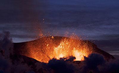 Ausbruch auf dem Fimmvörðuháls-Pass am 2. April