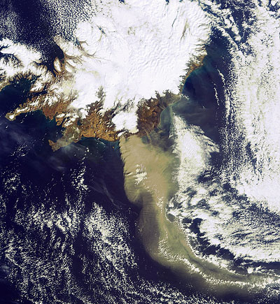 Aschenwolke des Vulkans Eyjafjallajökull am 19.04.2010