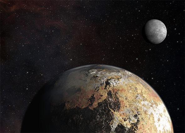 Pluto und sein großer Mond Charon - wie die beiden wirklich aussehen, wird erst die Raumsonde New Horizons verraten.