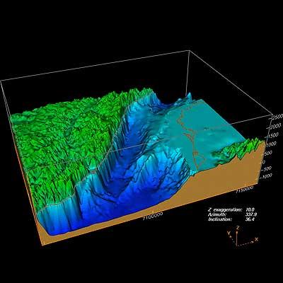 3D-Blick auf das Selenga-Delta