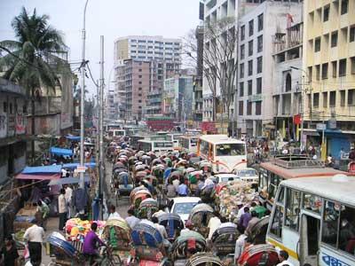 Dhaka zur Rush-hour