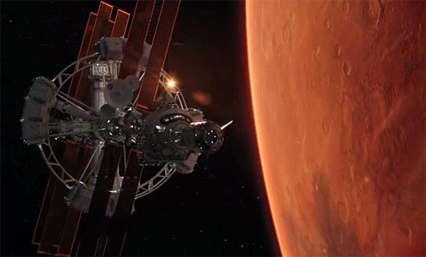 """Das Raumschiff """"Hermes"""" im Film überwindet die Strecke zum Mars mit Hilfe eines Ionenantriebs"""