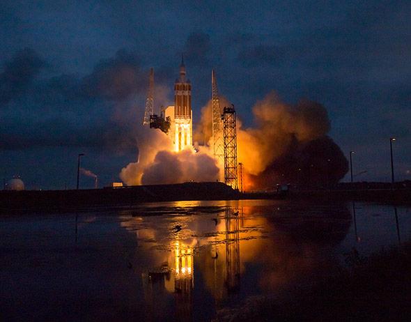 Start der NASA-Raumkapsel Orion in Cape Canaveral am 5. Dezember 2014. Sie soll in einigen Jahren Astronauten transportieren.