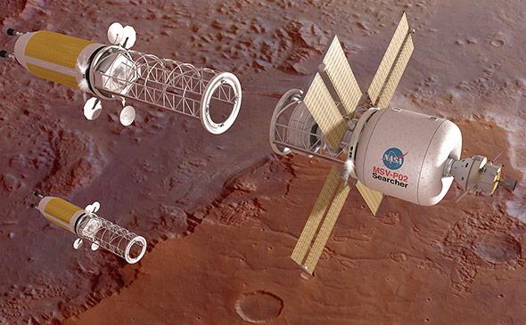 Die NASA-Raumkapsel Orion (ganz rechts) zusammen mit einem Hilfsschiff im Marsorbit