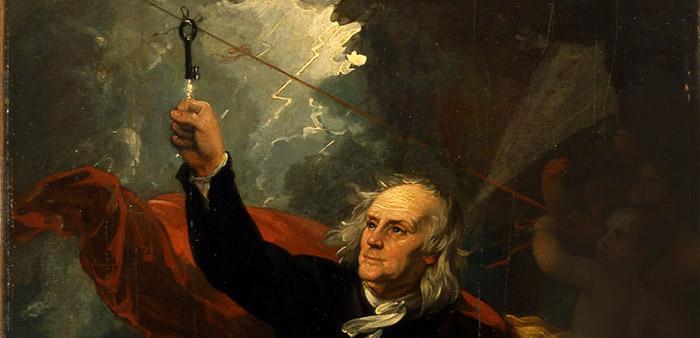 Benjamin Franklin – der Mann, der den Blitz zähmte © Benjamin West/ Philadelphia Museum of Arts
