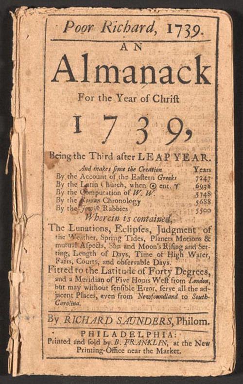 "<span class=""img-caption""> Titelblatt von Franklins Magazin ""Poor Richard's Almanack"".</span> <span class=""img-copyright"">© historisch</span>"