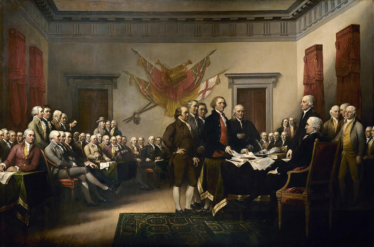"""<span class=""""img-caption""""> Das fünfköpfige Komitee präsentiert den Entwurf zur Unabhängigkeitserklärung – Franklin steht rechts.</span> <span class=""""img-copyright"""">© John Trumbull/ historisch</span>"""