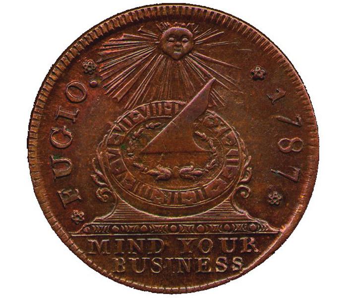 """<span class=""""img-caption""""> Dieser Fugio-Cent war die erste offizielle Münze der USA. Motto und Entwurf stammen von Benjamin Franklin.</span> <span class=""""img-copyright"""">© historisch</span>"""