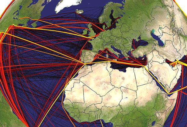 Je heller und dicker die Linien, desto höher das Invasionsrisiko durch marine Organismen.
