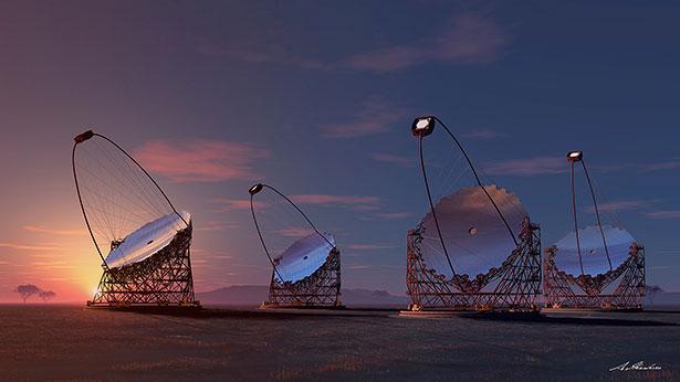 Die Teleskope des Cherenkov Telescope Array sollen die Rätsel der kosmischen Strahlung klären helfen.