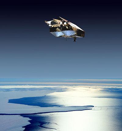 Cryosat über arktischem Meereis