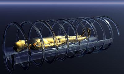 Die spiralige Bewegung der Röntgenröhre bei einem Computertomografen enthüllt auch das Innere von Mumien