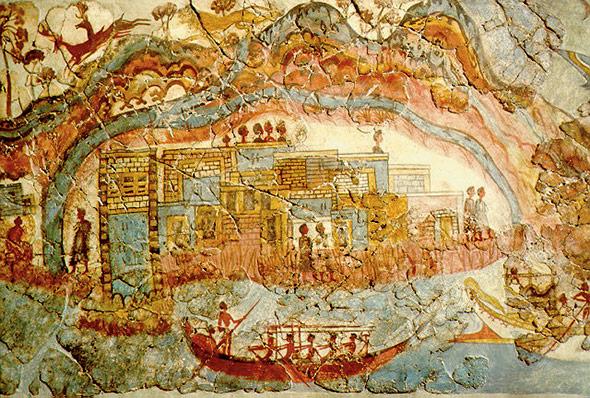 Die Stadt Akrotiri, dargestellt auf dem minoischen Westhaus-Fries
