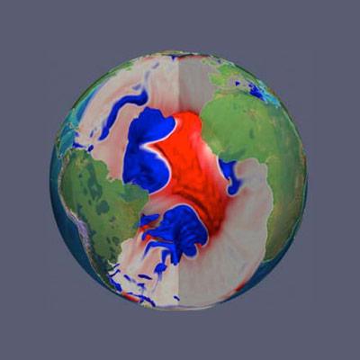 Modell der Konvektionsströme unter dem Südatlantik