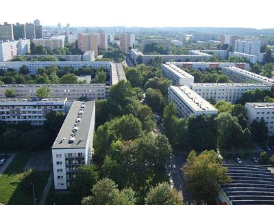 Plattenbau-Siedlung in Halle-Neustadt