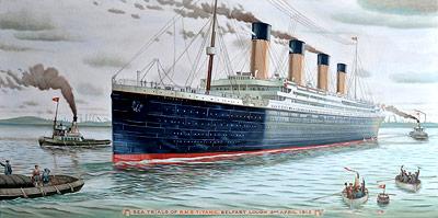 Die Titanic auf See (hier noch während einer Testfahrt)