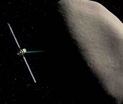 Dawn mit aktivem Ionenantrieb vor Kleinplanet Ceres