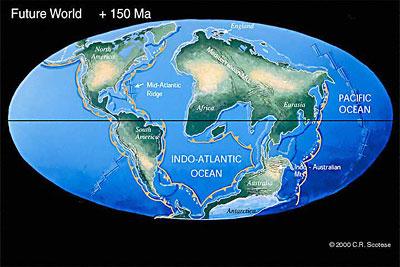 Lage der Kontinente in rund 150 MIllionen Jahren nach C. Scotese