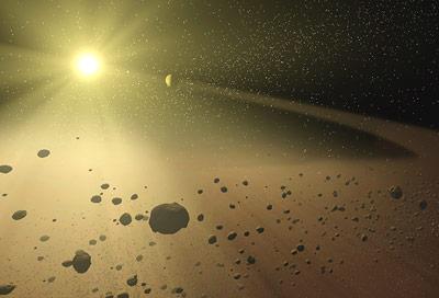 Aus Gas und Staub bilden sich nach und nach immer größere Planetenvorläufer