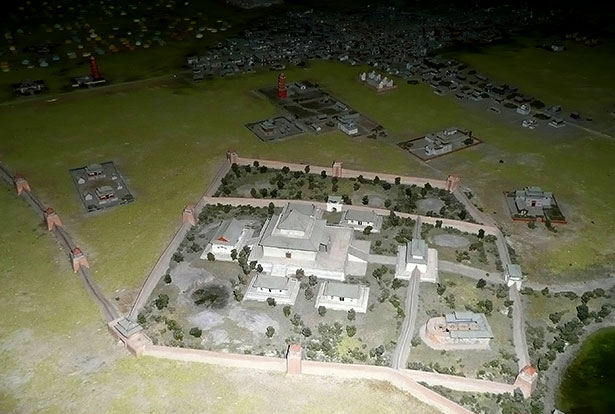 Rekonstruktion des zentralen Bezirks von Karakorum mit der Großen Halle.