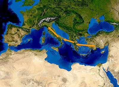 Seeweg mit Inselpausen: Die Route der ersten Bauern auf dem Weg nach Europa.