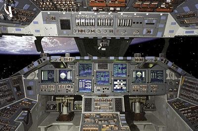 Blick ins Cockpit der Atlantis