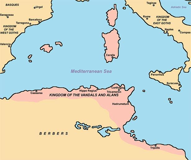 Ausdehnung des Vandalenreichs im Jahr 526