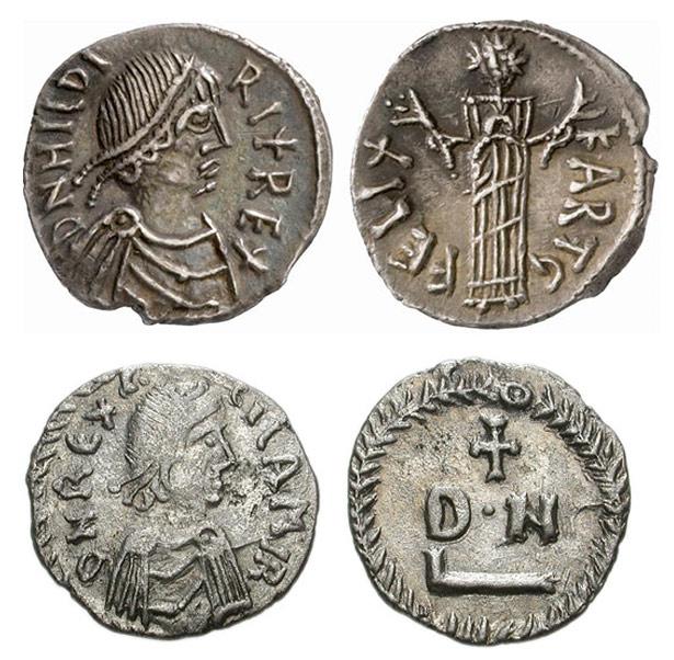 Vandalische Münzen, oben mit dem Portrait des Königs Hilderich, unten mit Gelimer, dem letzen König der Vandalen.