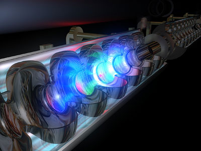 XFEL: Elektromagnetische Felder beschleunigen die Elektronen in den supraleitenden Resonatoren.