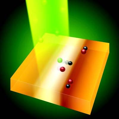 Lichtstrahl kehrt Elektronen aus dem Kristall