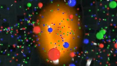 Quark-Gluon-Plasma nach Kollision zweier Gold-Ionen