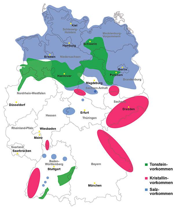 Vorkommen der Wirtsgesteine Salz, Tonstein und Kristallin in Deutschland