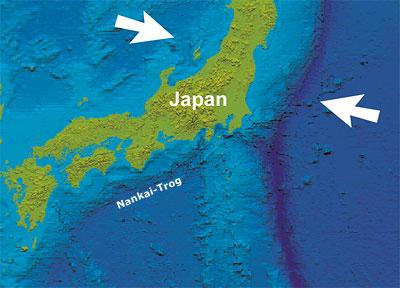 Der Nankai-Trog vor Japan - eine der aktivsten Erdbebenzonen der Erde