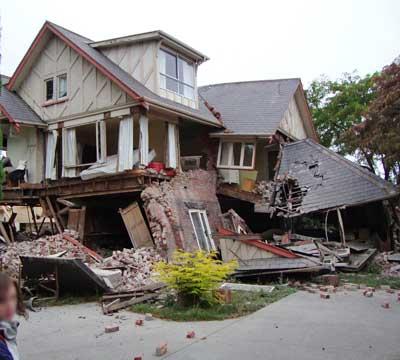 Christchurch: zerstörtes Gebäude in der Bealey Avenue