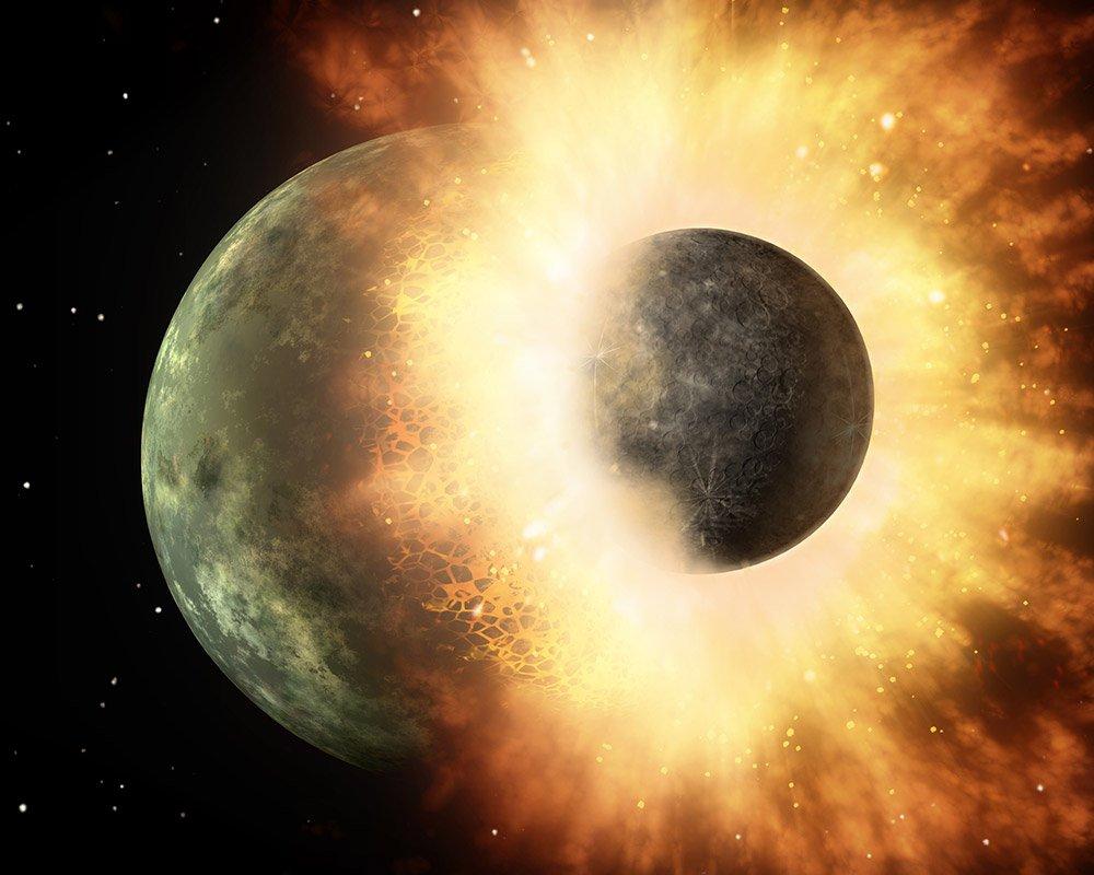 """Die Kollision der jungen Erde mit einem marsgroßen Protoplaneten schuf den Erdmond. <span class=""""img-copyright"""">© NASA/JPL-Caltech</span>"""