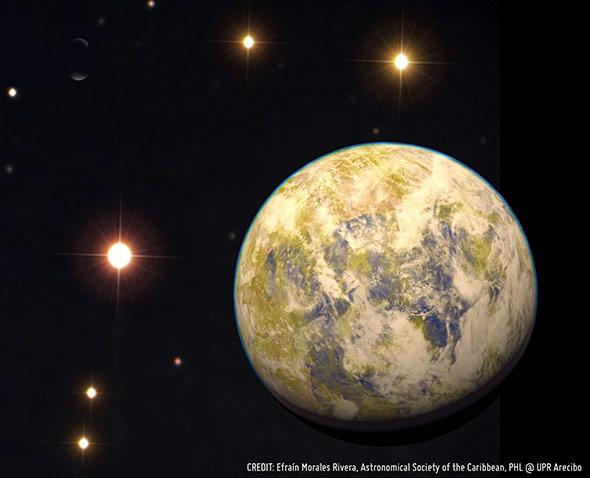So könnte die Super-Erde Gliese 832c aussehen, links neben ihm der Rote Zwerg Gliese 832.
