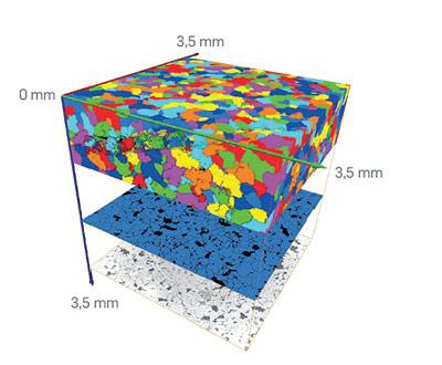 Ein Computerprogramm wertet die Sandkorn-Tomografie aus und ermittelt die Korngrößen.