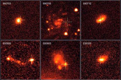 Nachleuchten von langen Gamma Ray Bursts in Aufnahmen des Weltraumteleskops Hubble.
