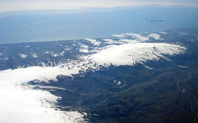 Blick über den Þórsmörk und den Eyjafjallajökull Gletscher