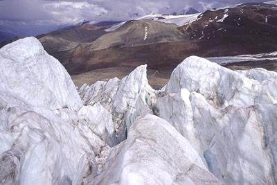 Blick auf den Trapridge Gletscher im Yukon Territory